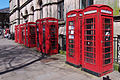 Row of K6 telephone boxes in Preston.jpg