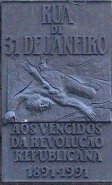 Commemorative Plaque On 31 De Janeiro Street In Porto