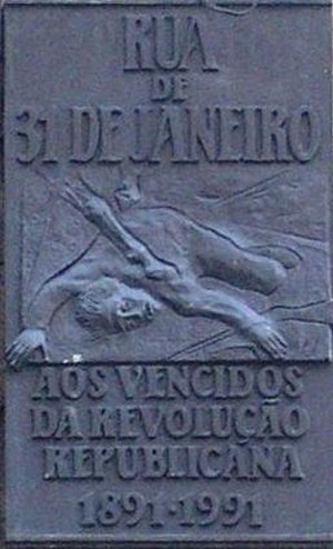 5 October 1910 revolution - Commemorative plaque on 31 de Janeiro Street, in Porto.