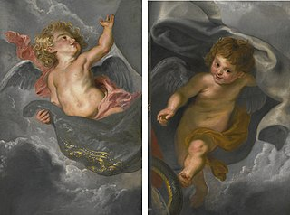 Two Cherubs holding up Drapery