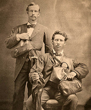 Mission (LDS Church) - Rudger Clawson and Joseph Standing, missionaries of the LDS Church serving in the Southern States Mission in the United States, pose for a portrait in 1879. While still companions, Standing was killed by a mob of anti-Mormons on 21 July 1879 in Varnell Station, Georgia.