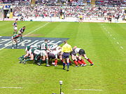A rugby union scrum