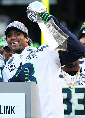 Vince Lombardi Trophy - Russell Wilson with Lombardi Trophy