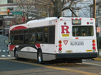 Rutgers Campus Buses - An LX Bus on College Avenue preparing to turn left onto Hamilton Street