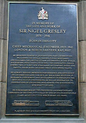 Nigel Gresley - Memorial plaque to Gresley's achievements displayed in the main hall of Edinburgh's Waverley railway station