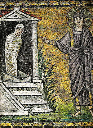 Sixth-century mosaic of the Raising of Lazarus, church of Sant'Apollinare Nuovo, Ravenna, Italy. S. Apollinare Nuovo Resurr Lazzaro.jpg