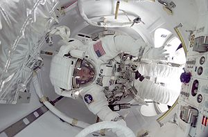 Quest Joint Airlock - James F. Reilly during preparation for the first space walk utilizing the Quest Airlock in July 2001