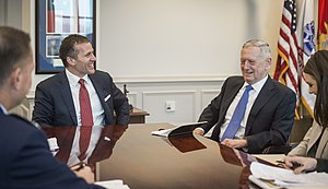 Eric Greitens - Greitens with U.S. Secretary of Defense James Mattis in March 2017