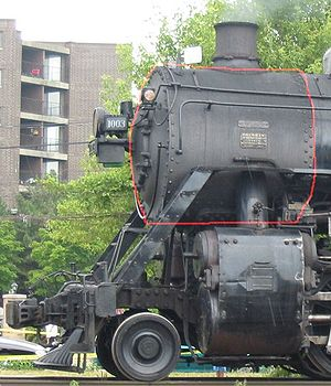 Smokebox - The smokebox (outlined in red) of Soo Line 1003.