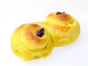 Bun - A Swedish-style saffron bun usually made during Christmas season, more specifically on Saint Lucy's Day