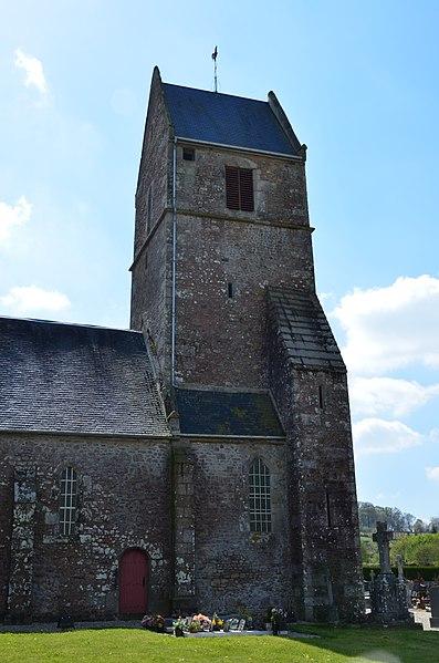 Clocher de l'église Saint-Aubin de Saint-Aubin-des-Bois.