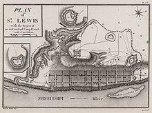 Un mapa que representa la ciudad de St. Louis en la década de 1790.