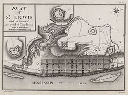 A map depicting the town of St. Louis in the 1790s