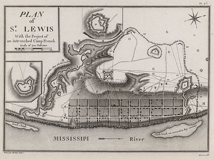 A map depicting the town of St. Louis in the 1790s, then part of Spanish Louisiana SaintLouis1790s.jpg