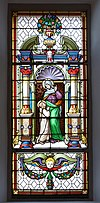 Saint Anne Stained glass window in the Saint Antony church in St. Ulrich in Gröden.jpg