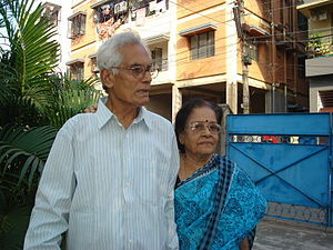 Samir Roychoudhury - Samir with his wife Belarani in Bansdroni, Kolkata in 2010