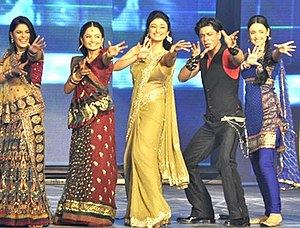 Ragini Khanna - Khanna at the music launch of Ra.One (2011) along with Shahrukh Khan and Pooja Gaur, Giaa Manek and Sanaya Irani