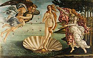 Painting displaying a naked blond woman standing atop an oyster shell in water. To her left, another blond woman tries to cover her with a pink cloth. To her right a flying naked couple is seen, with a blue cloth wrapped loosely around them.