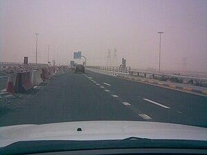 E 611 road (United Arab Emirates) - E611 during sandstorm