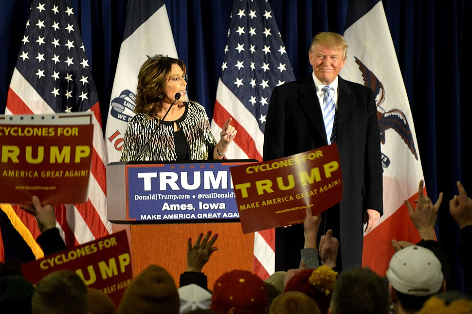 Sarah Palin speaks at a rally after endorsing Republican presidential candidate Donald Trump