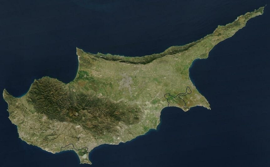 Satellite image of Cyprus in January 2003