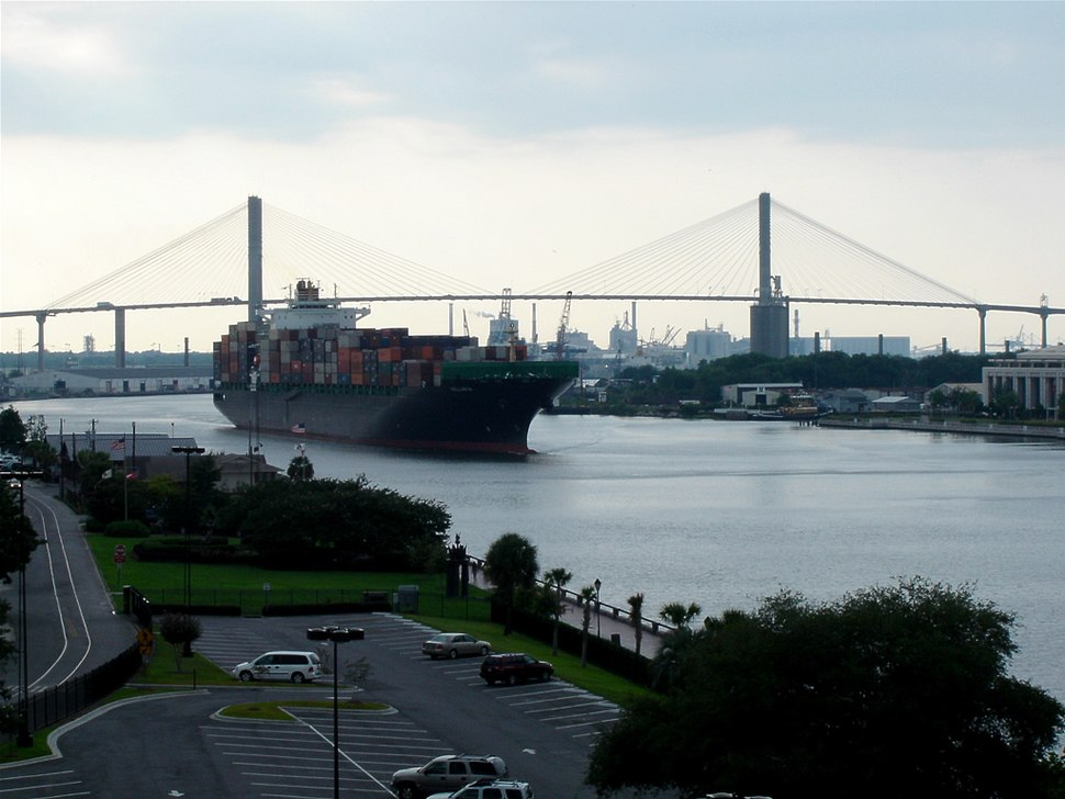 Talmadge Memorial Bridge with Port of Savannah in the background
