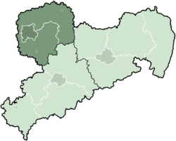 Map of Saxony highlighting the former Direktionsbezirk of Leipzig