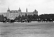 The Schützenkaserne (pictured during a royal military parade in 1910) is the only building of the Albertstadt that was destroyed during the Second World War