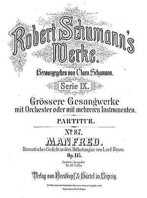 Manfred (Schumann) - Original title page for Robert Schumann's Manfred, Op.115