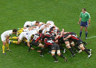 Glossary of rugby union terms - Scrum between ASM Clermont-Auvergne and Saracens.