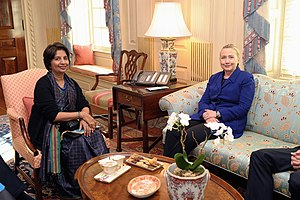 Indian Foreign Service - Then Indian Ambassador to the United States, Nirupama Rao, in a meeting with then U.S. Secretary of State, Hillary Clinton, in Washington, D.C., 2012