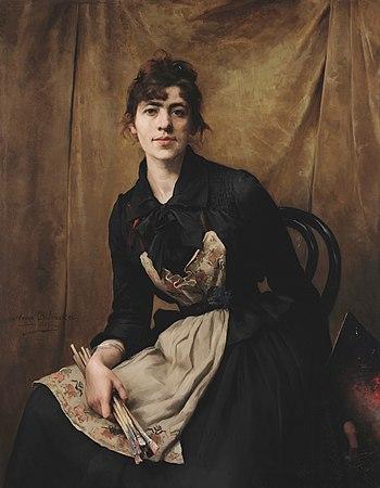 Self-portrait by Anna Bilińska-Bohdanowiczowa, 1887.jpg