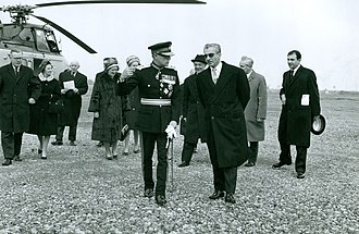 West Burton power stations - The Shah of Iran visits West Burton Power Station in a Westland Whirlwhind of The Queen's Flight escorted by the Lord Lieutenant of Nottinghamshire in 1965