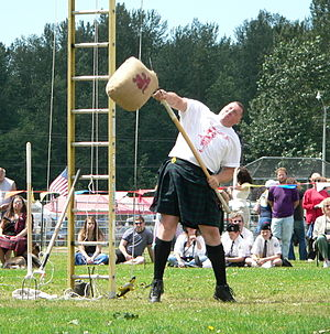 Sheaf toss - The sheaf toss event at the 2005 Skagit Valley Highland Games, in the state of Washington, United States.