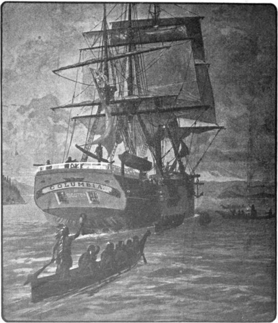 Ship Columbia on river