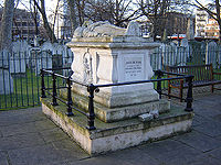 John Bunyan's tomb, Bunhill Fields, City Road, London. (January 2006)