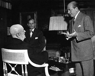 Eugene Ormandy - Ormandy visited Finland several times. Here he is seen in 1951 with Jean Sibelius (left) and Nils-Eric Ringbom in Sibelius' home, Ainola.