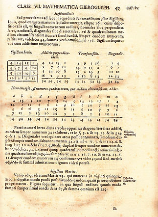 This page from Athanasius Kircher's Oedipus Aegyptiacus (1653) belongs to a treatise on magic squares and shows the Sigillum Iovis associated with Jupiter Sigillum Iovis.jpg