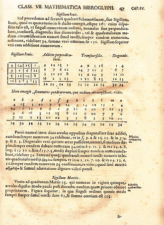 Magic square - This page from Athanasius Kircher's Oedipus Aegyptiacus (1653) belongs to a treatise on magic squares and shows the Sigillum Iovis associated with Jupiter