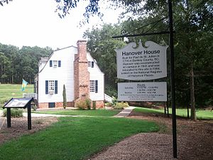 Hanover House (Clemson) - Sign for the Hanover House, with the house in the background.