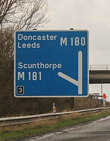 Sign for junction 3 of M180 motorway.jpg