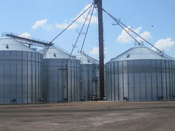 Grain silos in Springlake, Texas