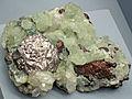 Silver-prehnite-copper (Mesoproterozoic, 1.05-1.06 Ga; Quincy Mine, Hancock, Upper Peninsula of Michigan, USA) (16665235963).jpg