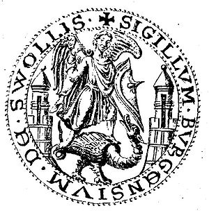 Basilisk - City seal of Zwolle from 1295 with the Archangel Michael killing a basilisk
