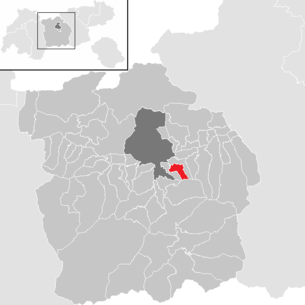 Location of the municipality of Sistrans in the Innsbruck-Land district (clickable map)