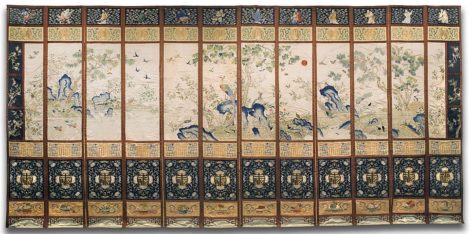 Six panels with birds, figures, and characters in the form of a screen