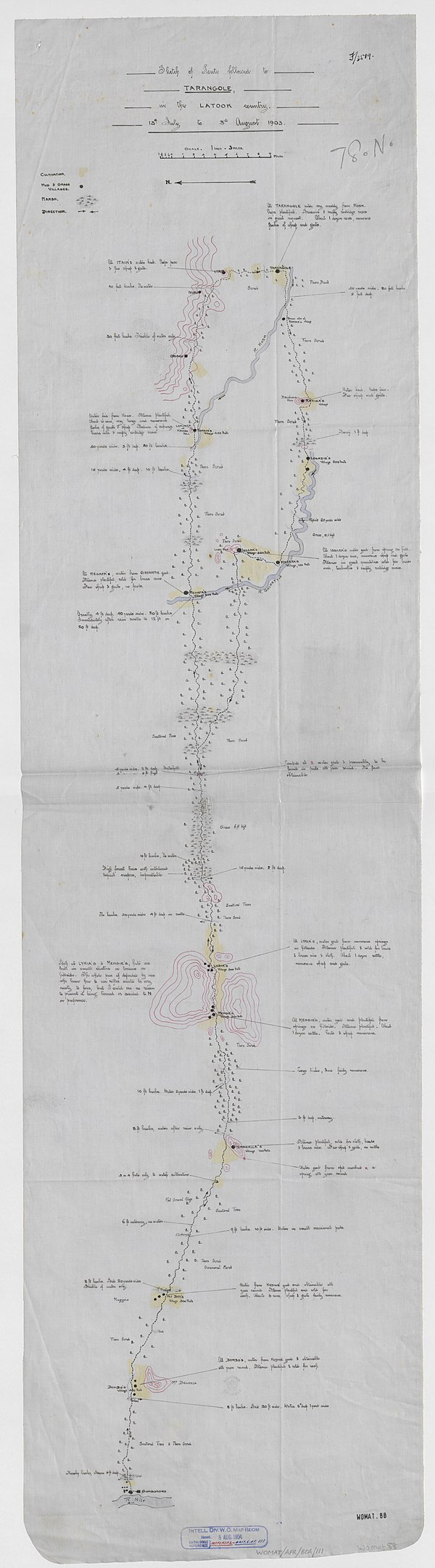 600px sketch of route followed to tarangole%2c in the latook country. %28womat afr bea 111%29