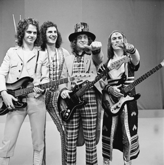 Slade - Slade in 1973. Left to right: Jim Lea, Don Powell, Noddy Holder, Dave Hill