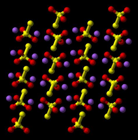 Kristallstrukturen för natriumtiosulfat.
