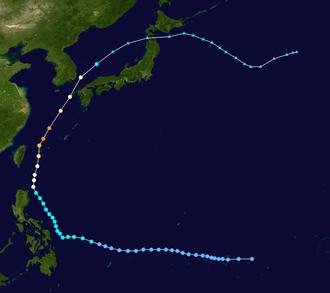 Typhoon Soudelor (2003) - Image: Soudelor 2003 track